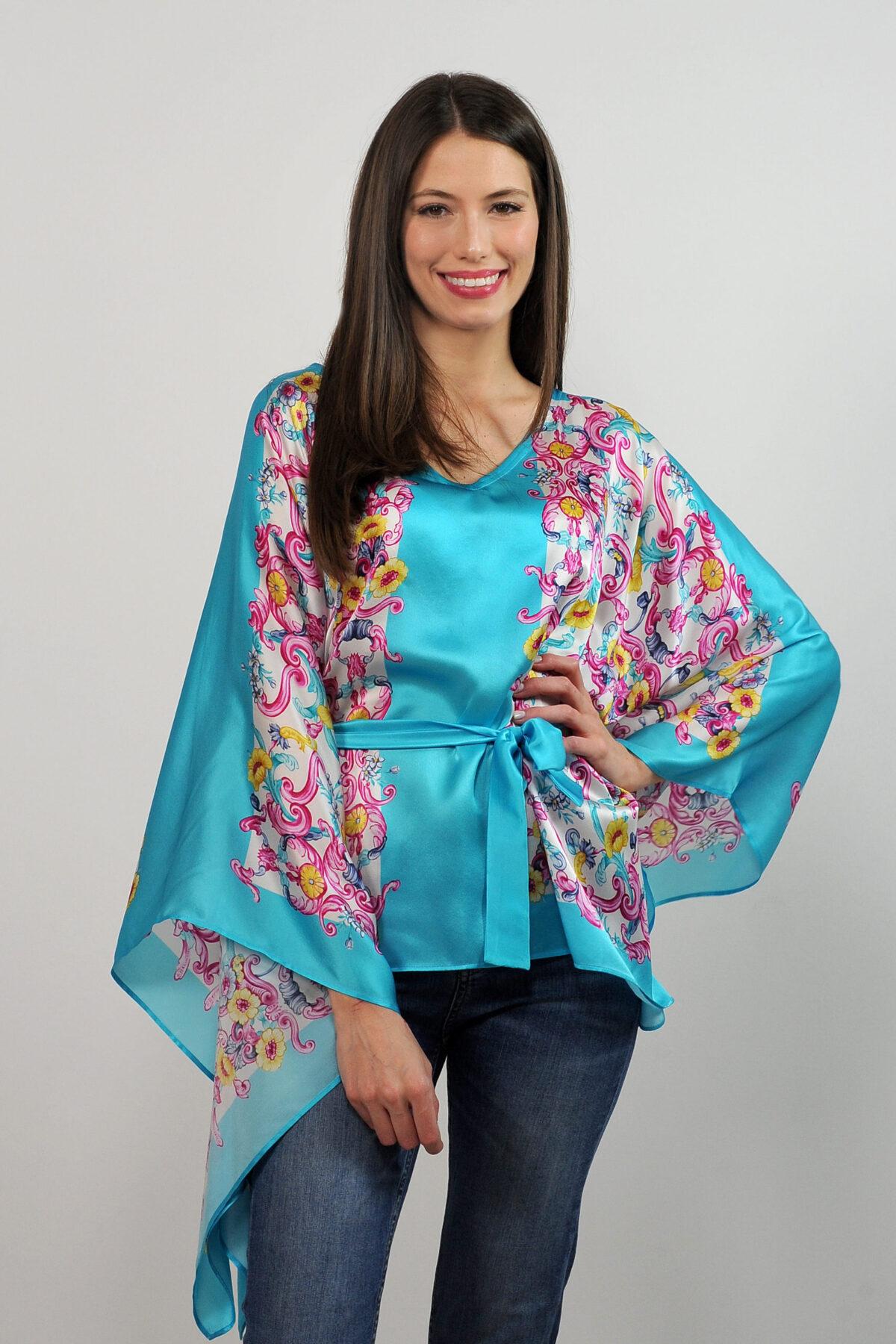 Blusa caftano con cintura - stampa foulard barocco
