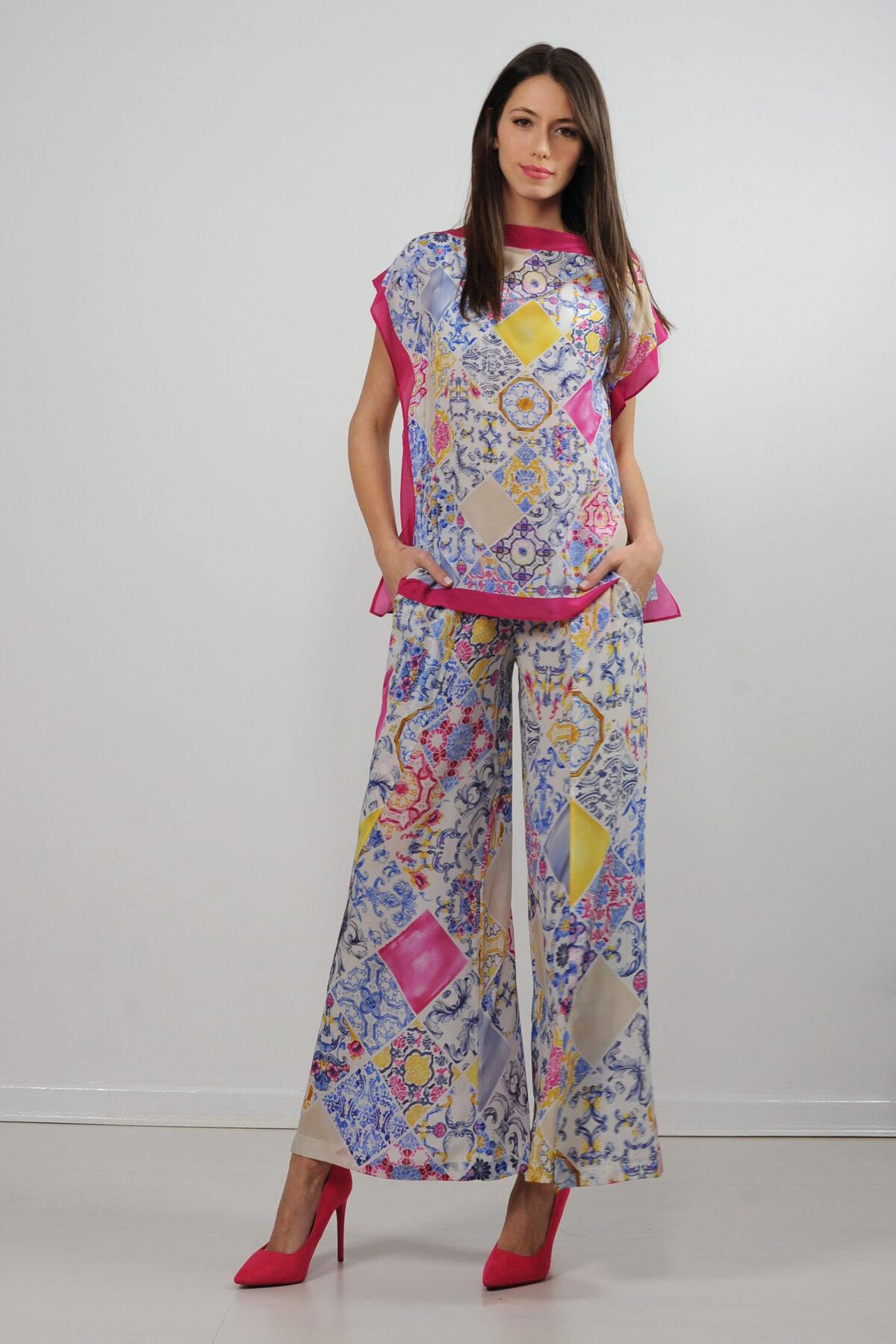 Top foulard in crepe de chine di seta - stampa mattonelle