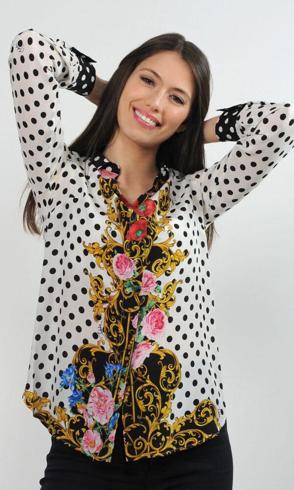 Camicia in crepe de chine di seta - stampa pois con barocco
