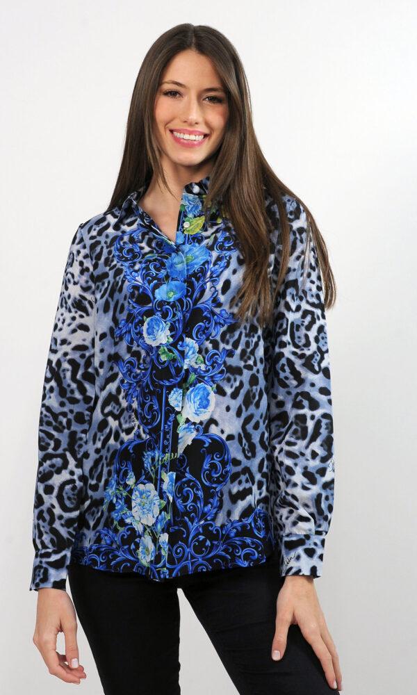 Camicia in crepe de chine di seta - stampa animalier con barocco