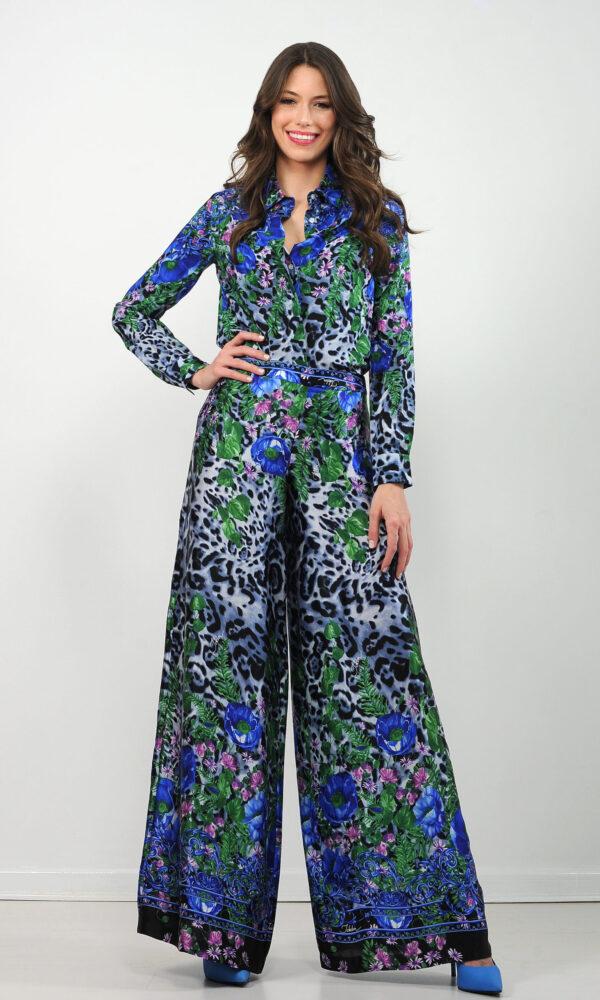 Camicia in crepe de chine di seta - stampa animalier con fiori