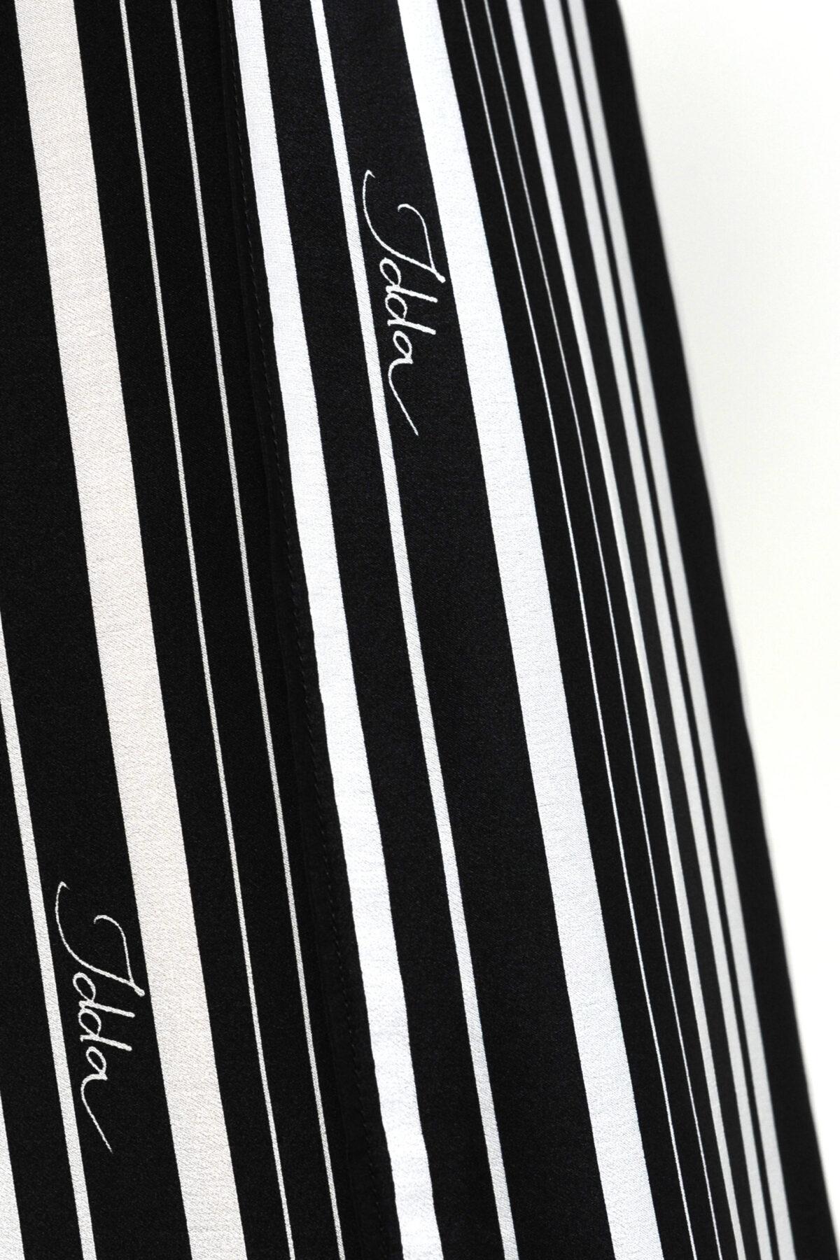 Pantalone in raso di seta - stampa righe con fiori