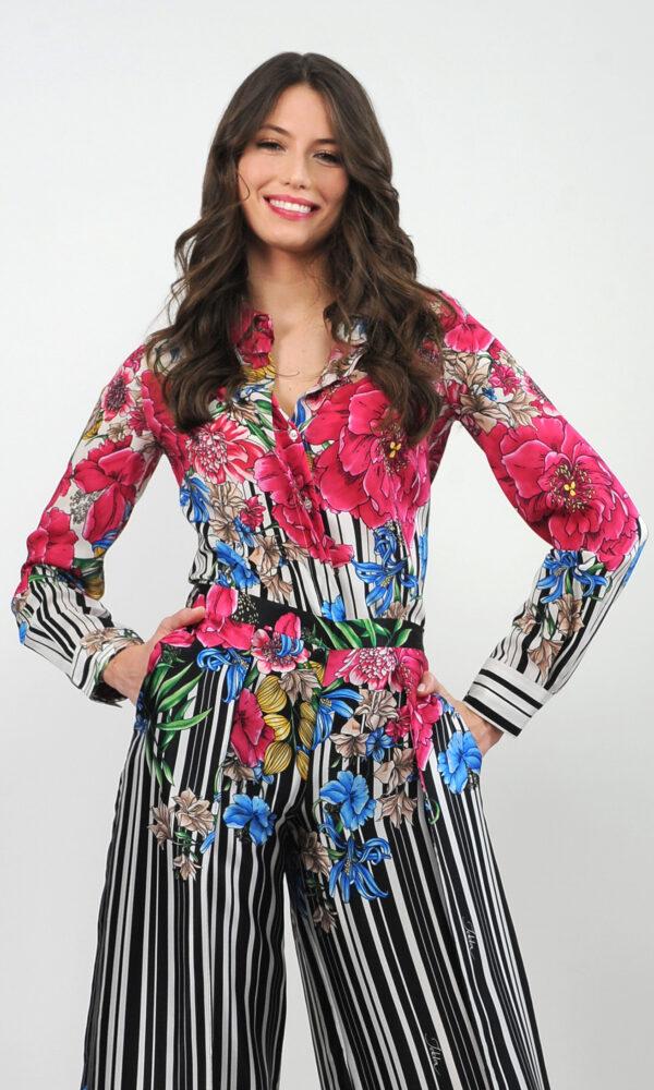 Camicia in crepe de chine di seta - stampa righe con fiori