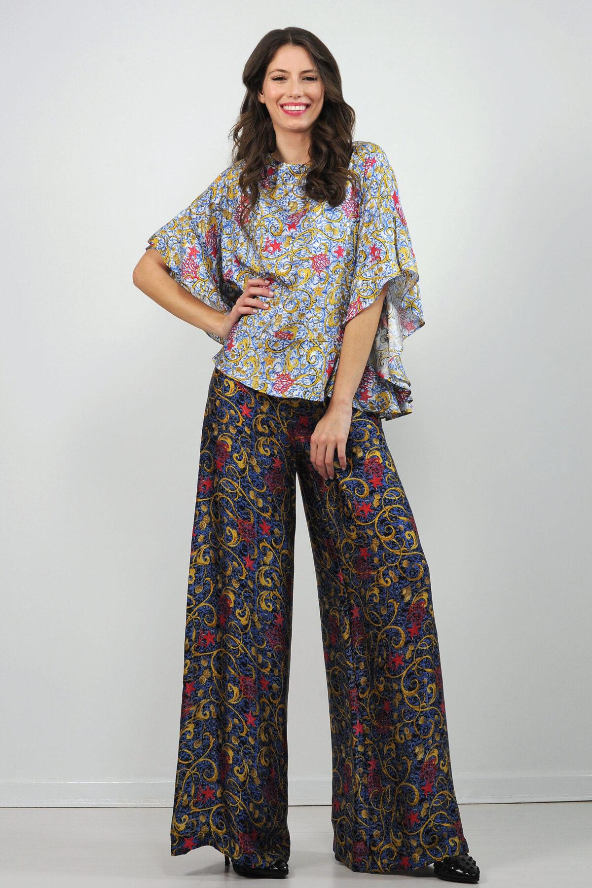 Pantalone in raso di seta - stampa marino