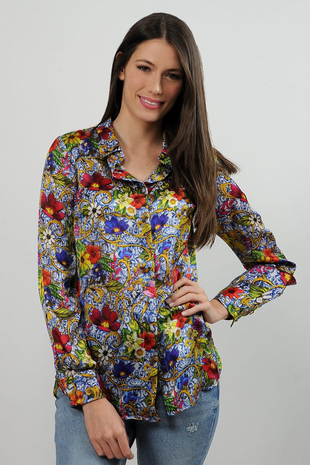 Camicia in raso di seta - stampa barocco con fiori