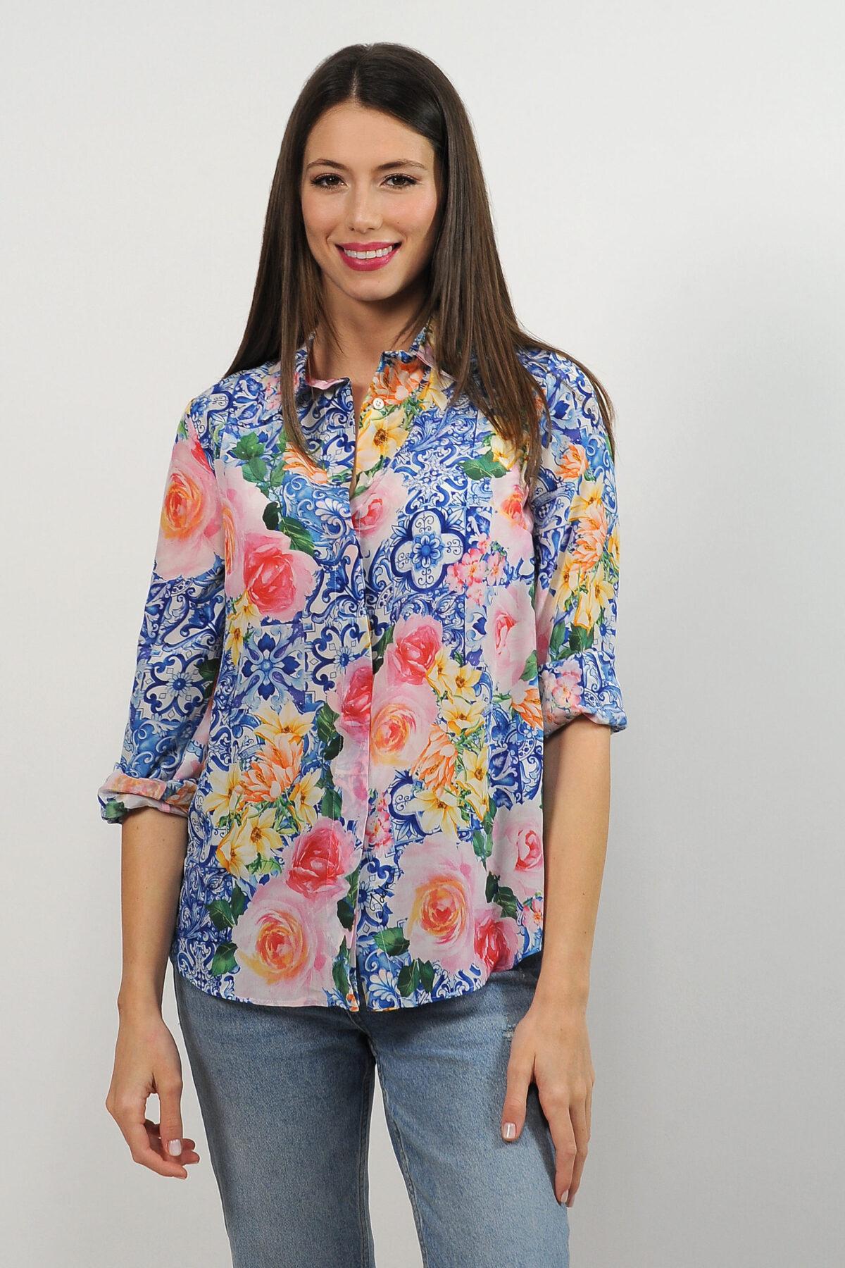 Camicia in crepe de chine di seta - stampa maioliche con fiori