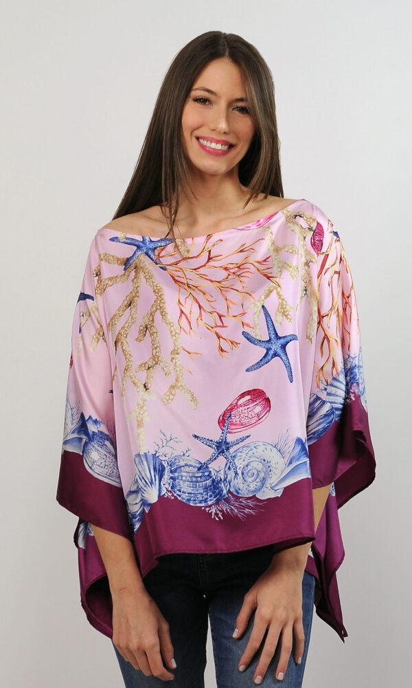Poncho in twill di seta - stampa foulard marino