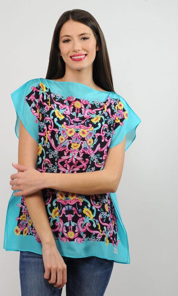Top foulard in crepe de chine di seta - stampa barocco