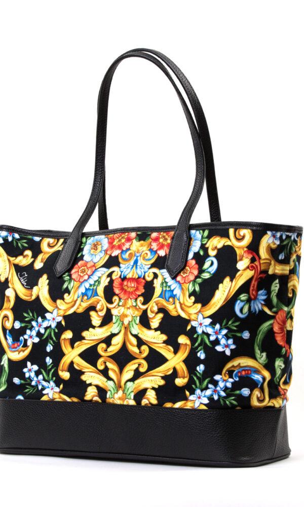 Shopper in pelle e canvas di cotone con maxi pochette interna a contrasto - stampa barocco