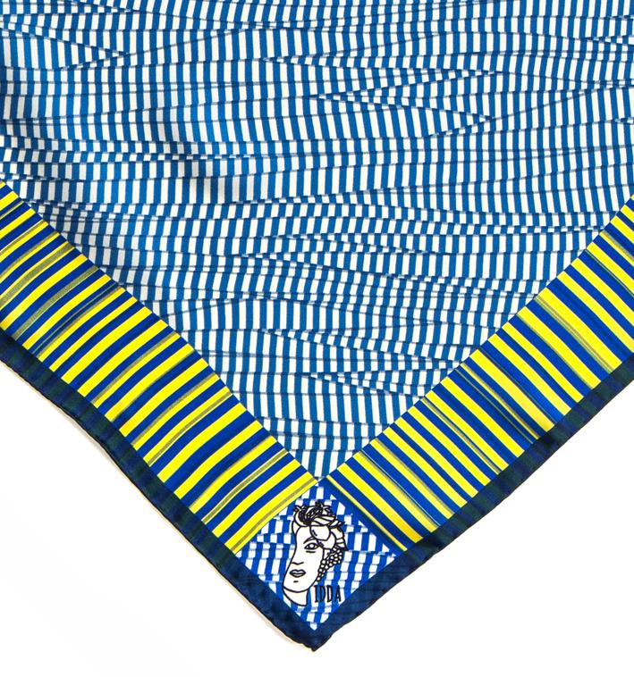 Foulard in raso di seta 70x70 - stampa idda optical